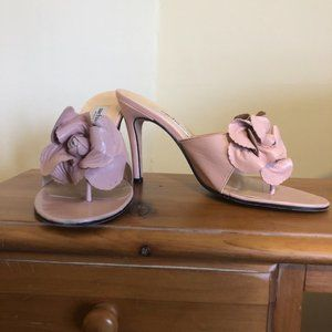Sacha London 7.5 Pink Leather Flower Thong Sandals